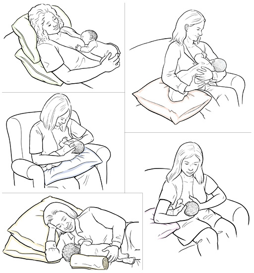 5 holds to use when breastfeeding: laid-back position, cradle hold, cross-cradle hold, football hold, and side-lying hold.